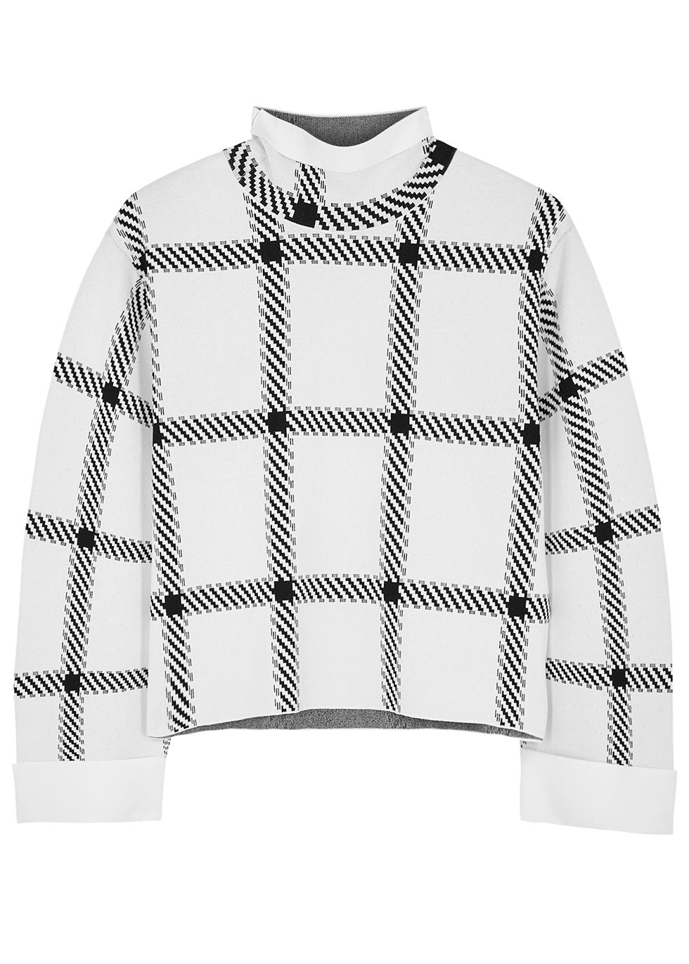 Check-intarsia stretch-knit top