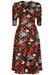 V-neck floral print fever dress in black - Traffic People