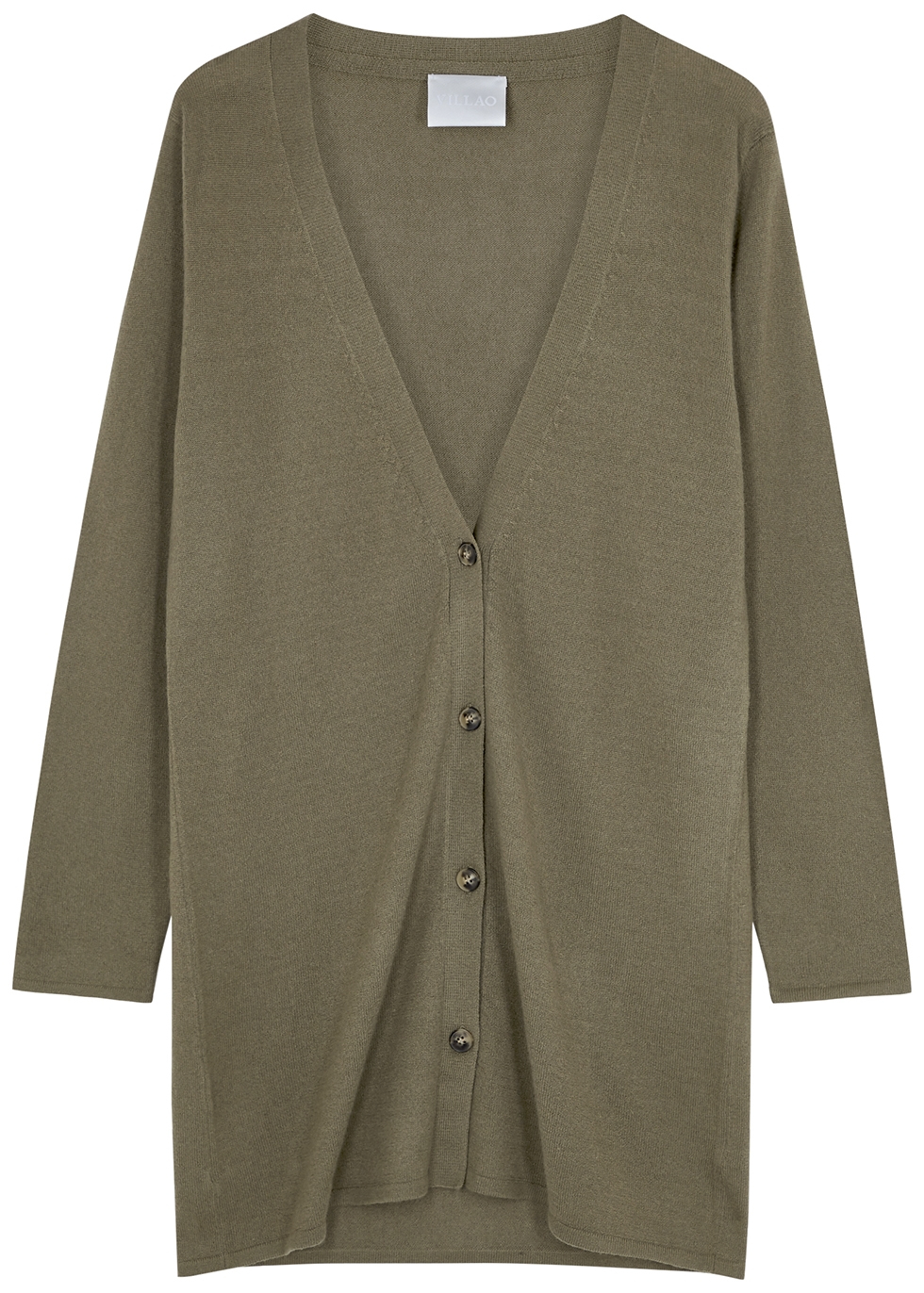 Army green cashmere cardigan