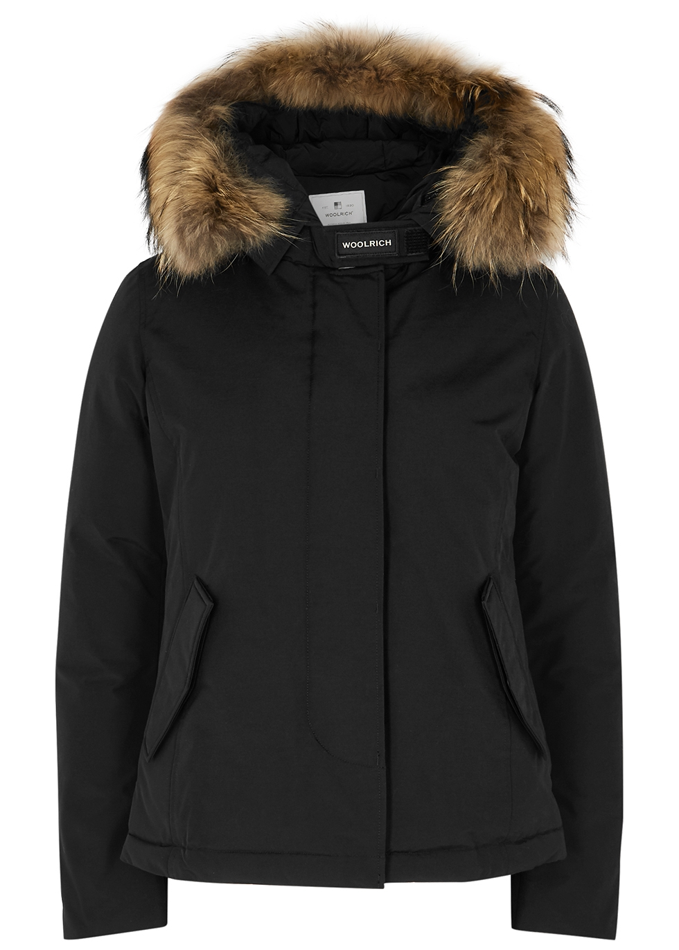 Arctic black fur-trimmed padded twill parka