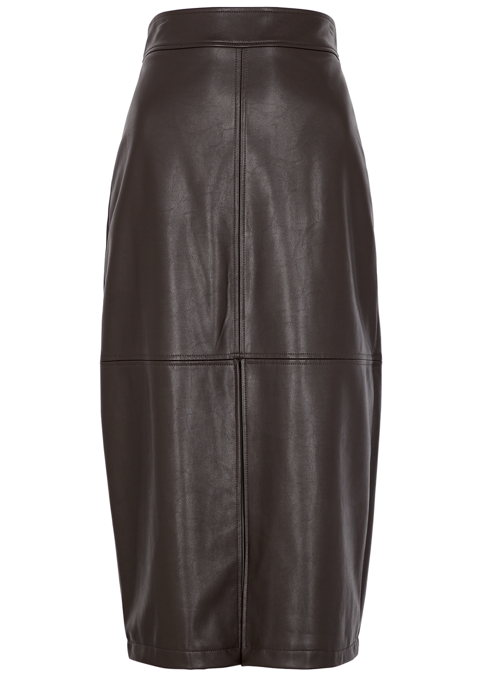 Moss dark brown faux leather midi skirt