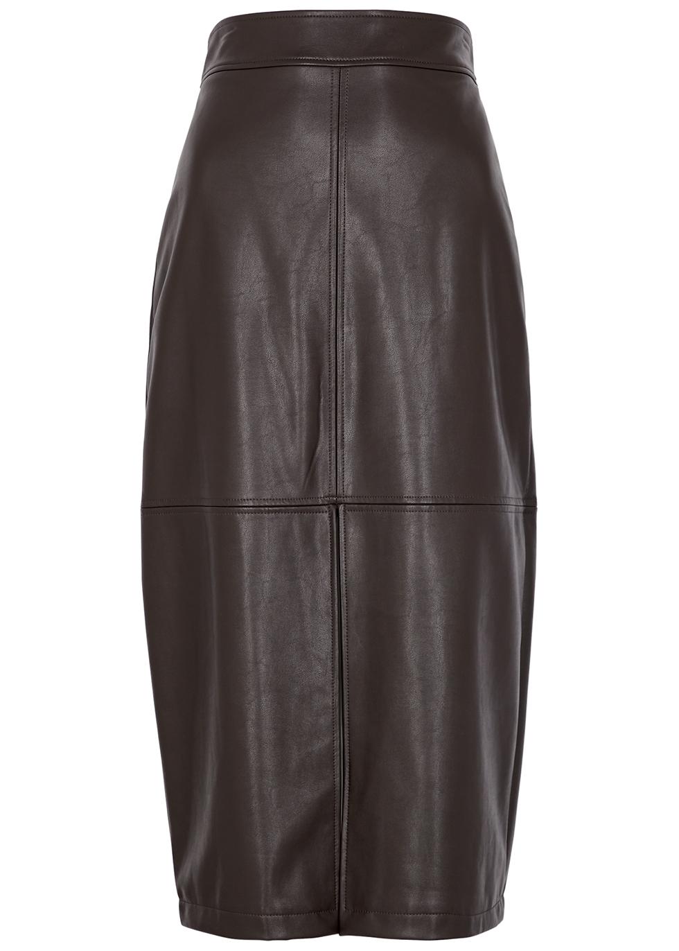 Moss dark brown faux leather midi skirt