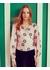 Delphine pink love flower print silk wrap top - Lisou