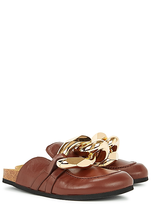 Dark brown chain-embellished leather mules - JW Anderson