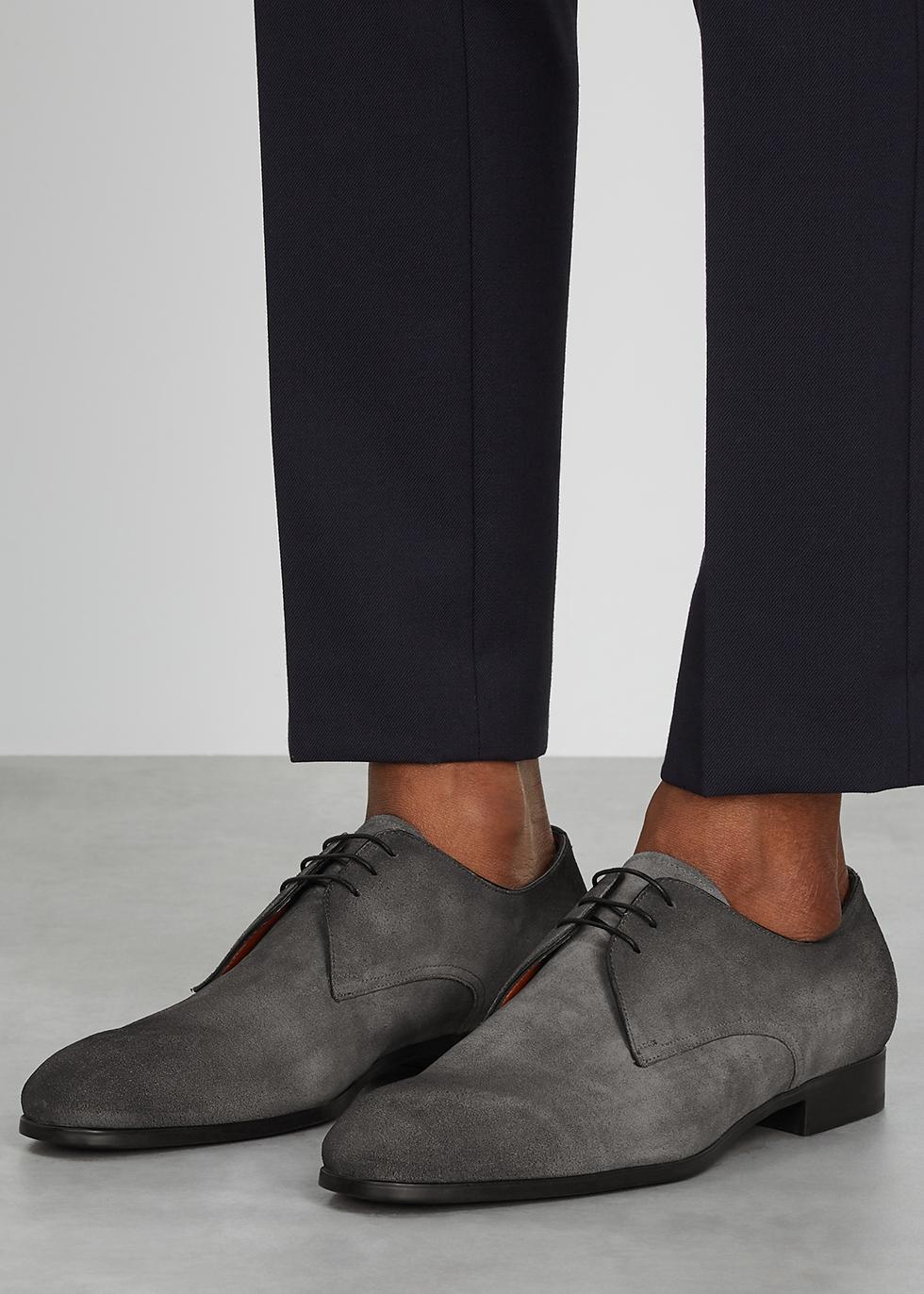 Santoni Simon grey suede Derby shoes