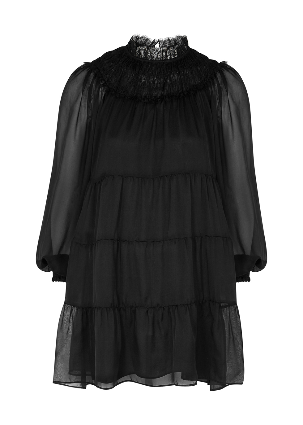 Kellyann black tiered silk-chiffon mini dress