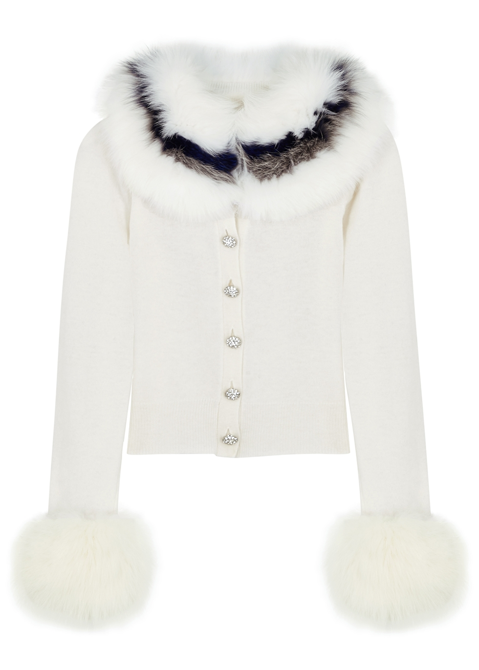 White fur-trimmed wool and cashmere-blend cardigan