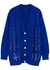 Blue sequin-embellished cable-knit wool cardigan - Izaak Azanei