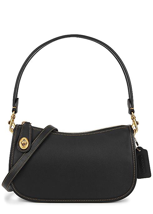 Swinger black leather shoulder bag - Coach