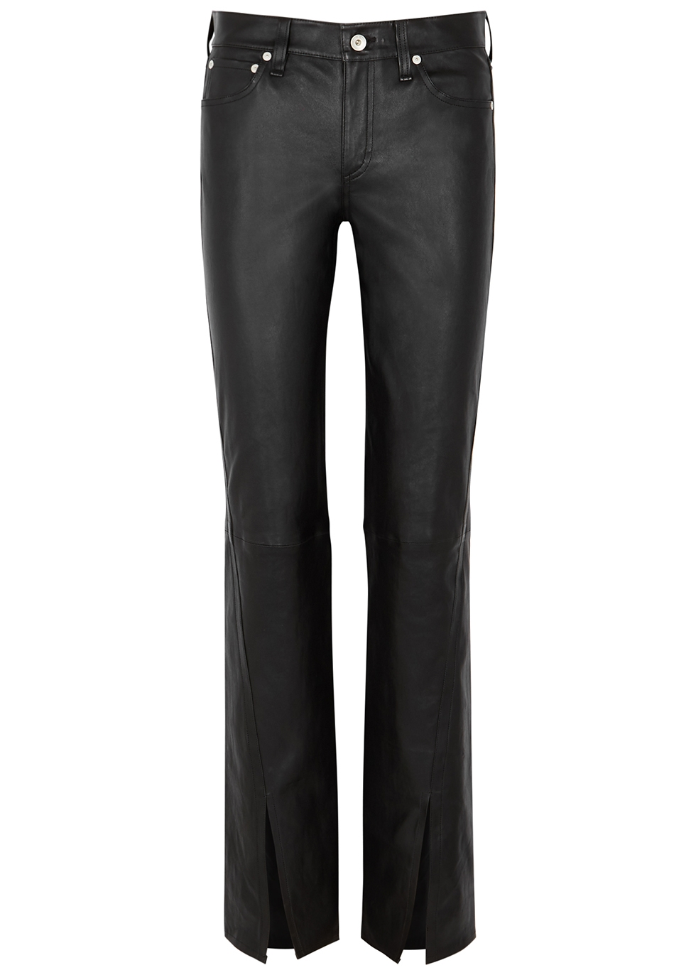 Cate black flared leather trousers