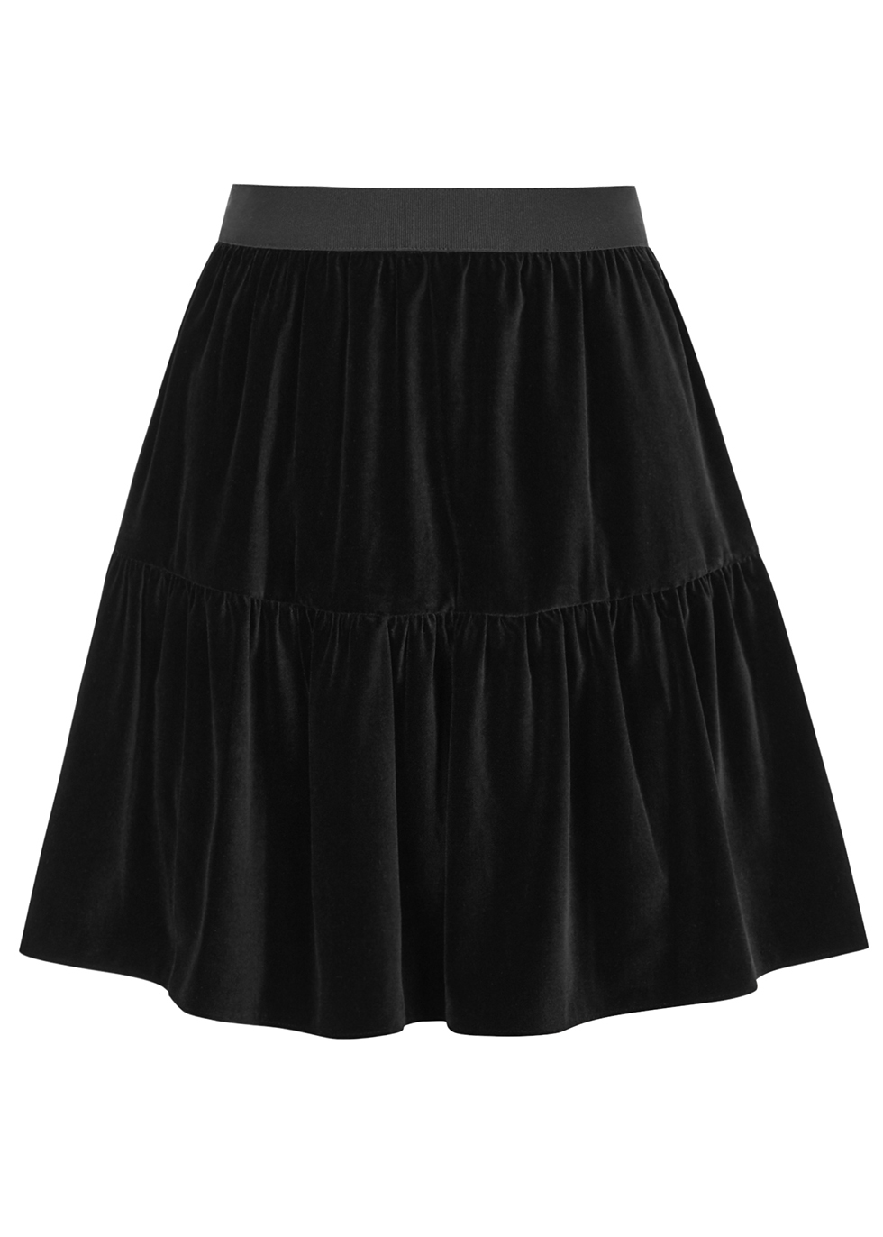 Sahara black stretch-velvet mini skirt