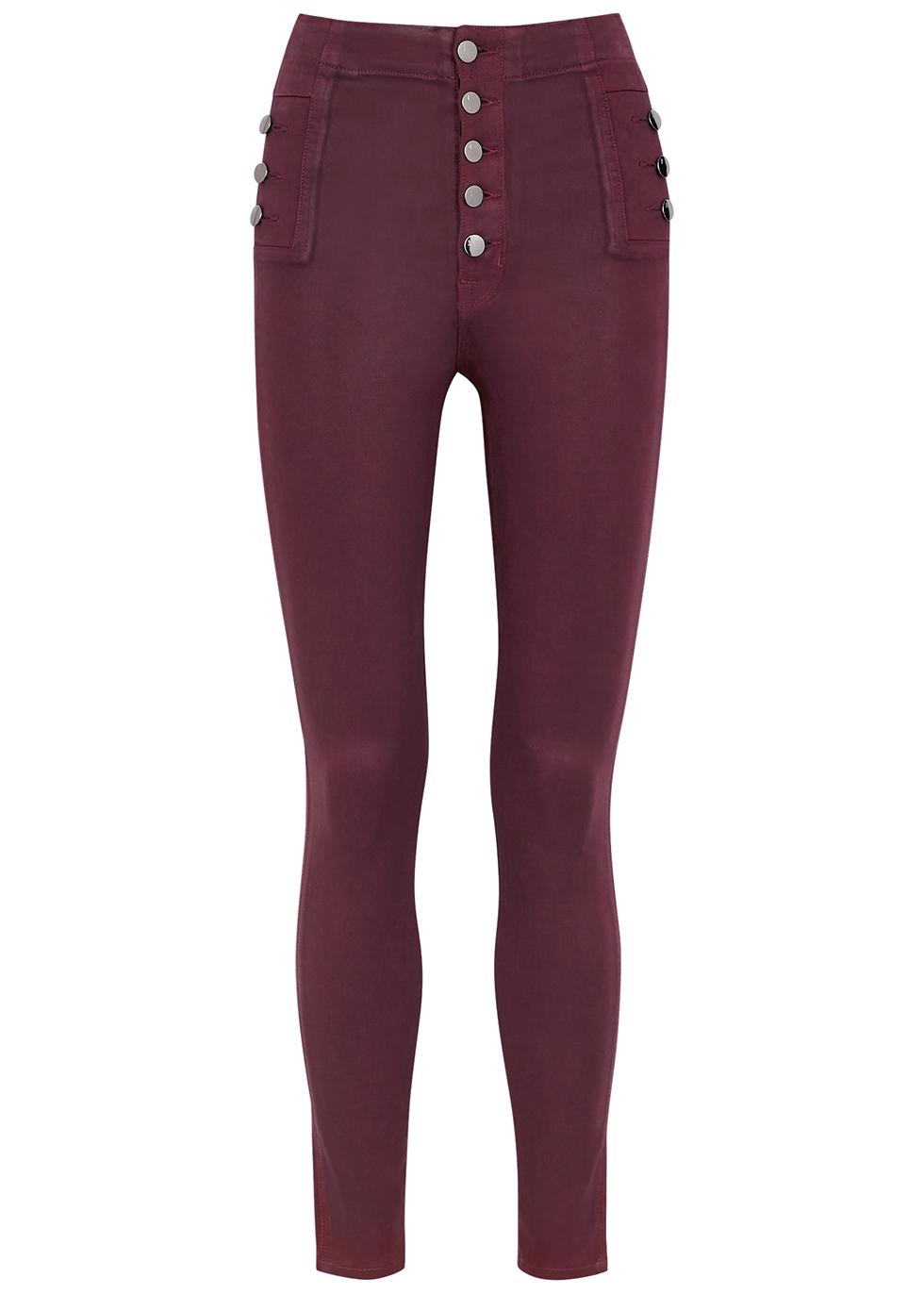 Natasha Sky High plum coated skinny jeans