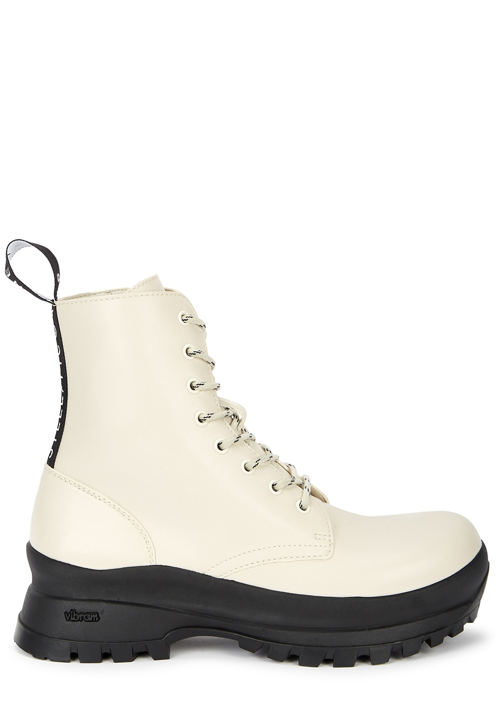 Trace off-white faux leather ankle boots