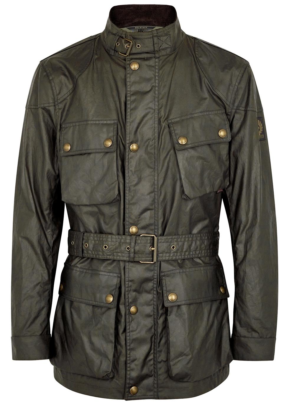 Trialmaster dark olive waxed cotton jacket