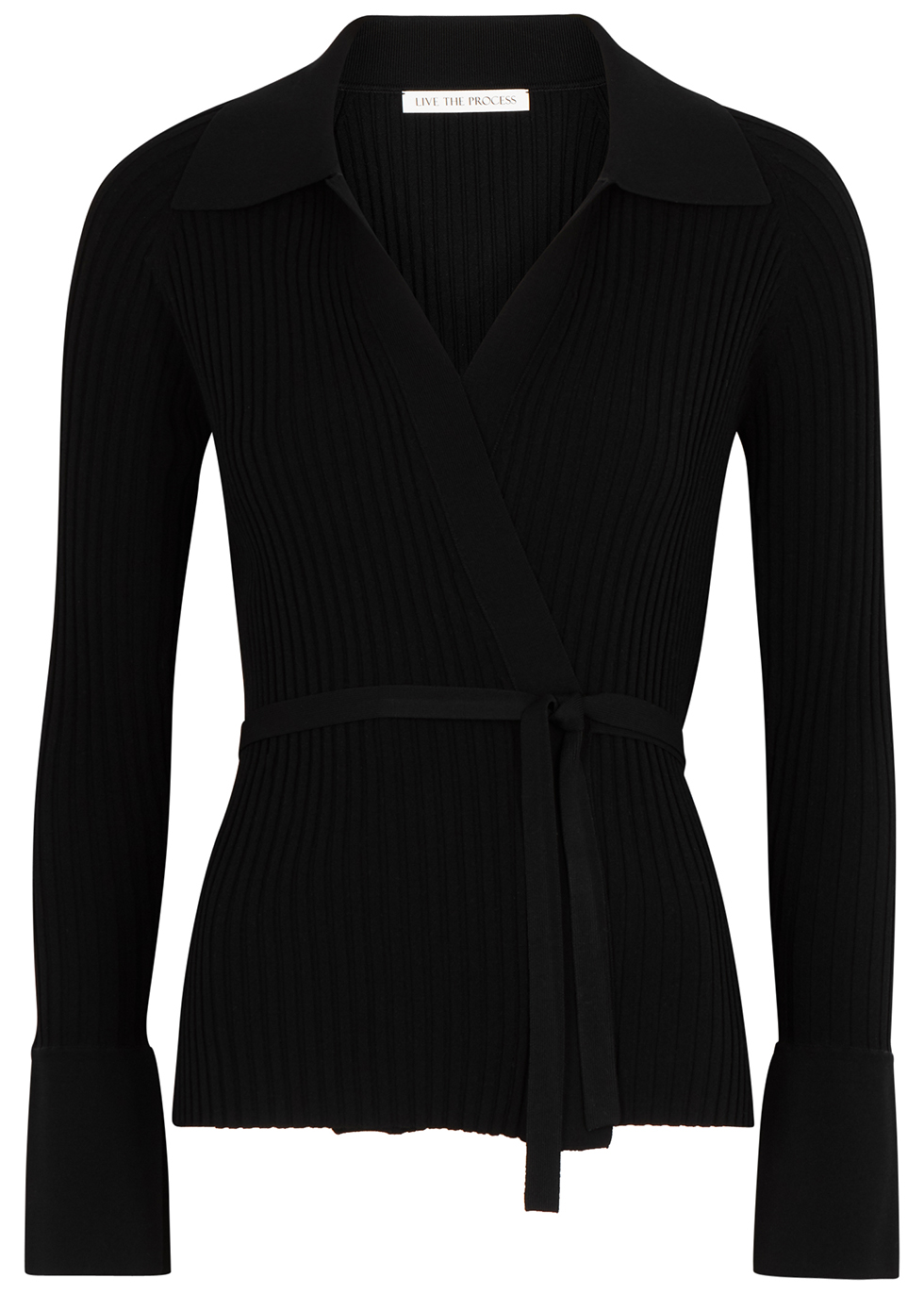Black ribbed-knit wrap cardigan
