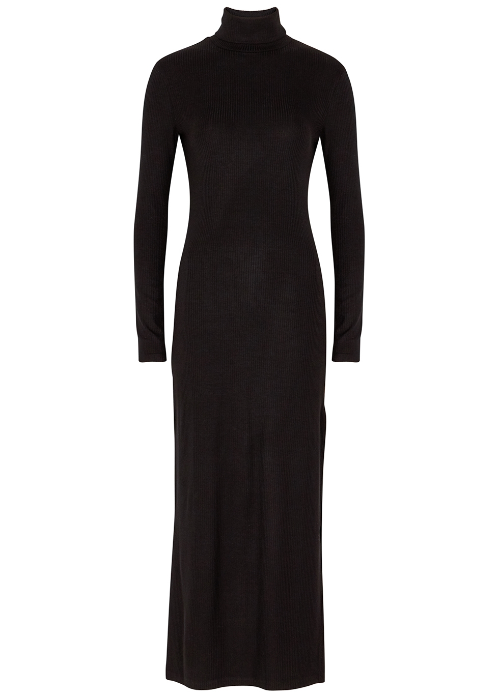 Black stretch-jersey midi dress