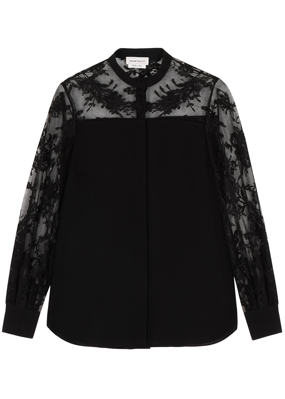 Black lace-panelled silk-chiffon blouse