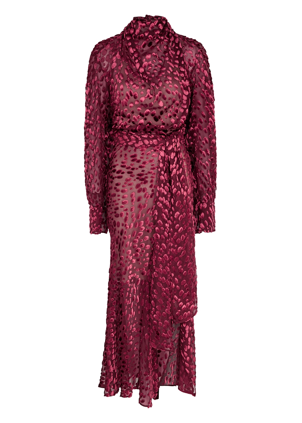 Aurel dark red draped devoré dress