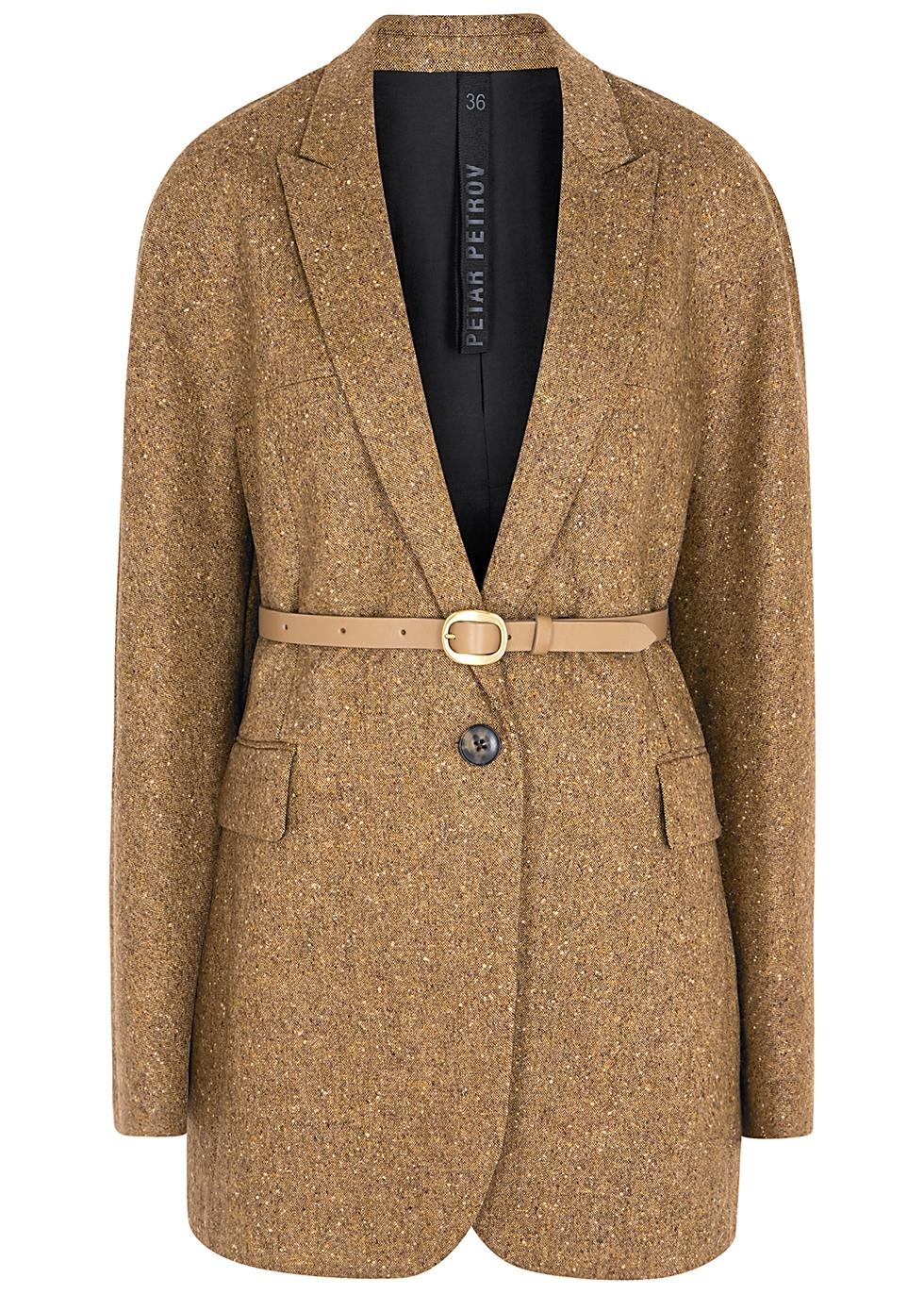 Joni brown belted wool-tweed jacket