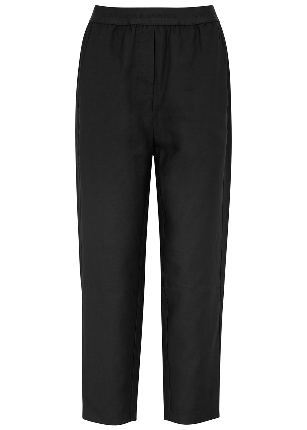 Drifter black tapered-leg trousers