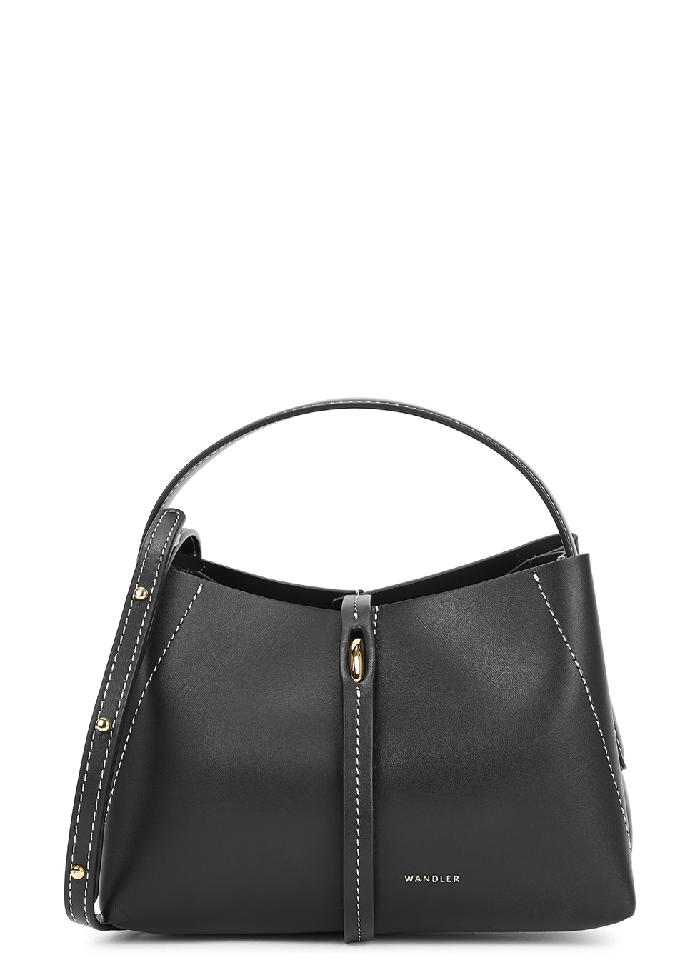 Ava micro black leather top handle bag