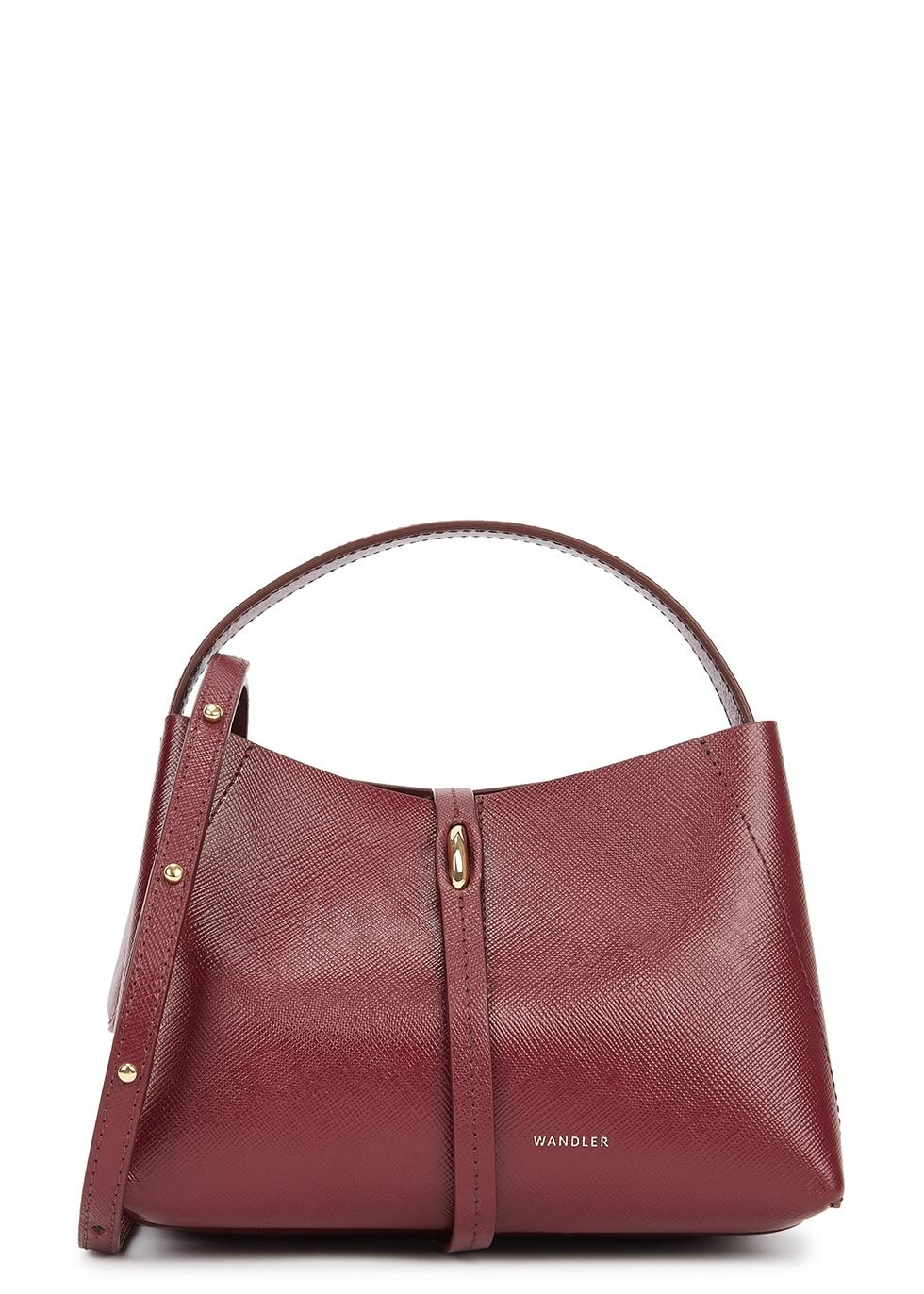 Ava micro burgundy leather top handle bag