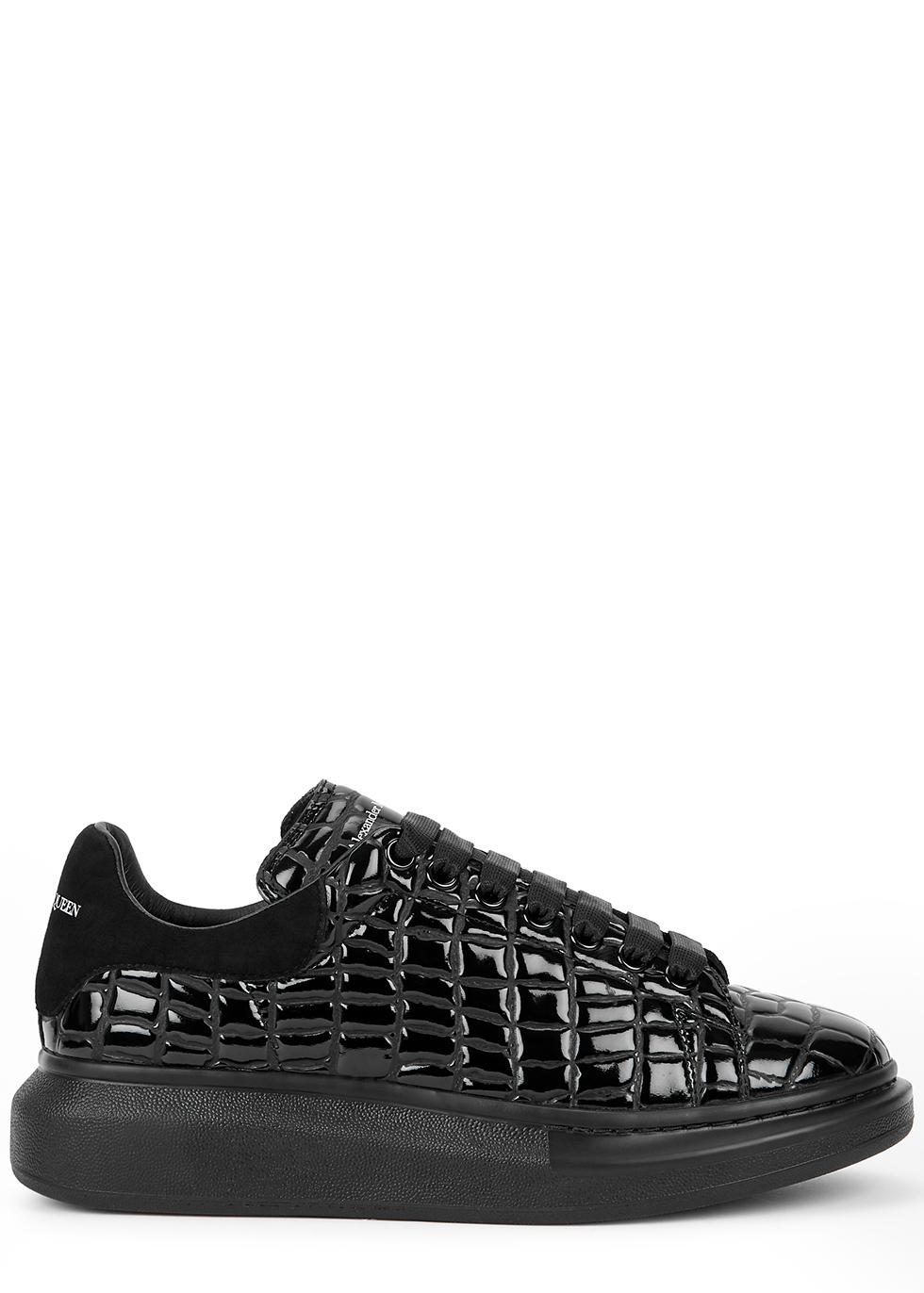 Larry black crocodile-effect leather sneakers