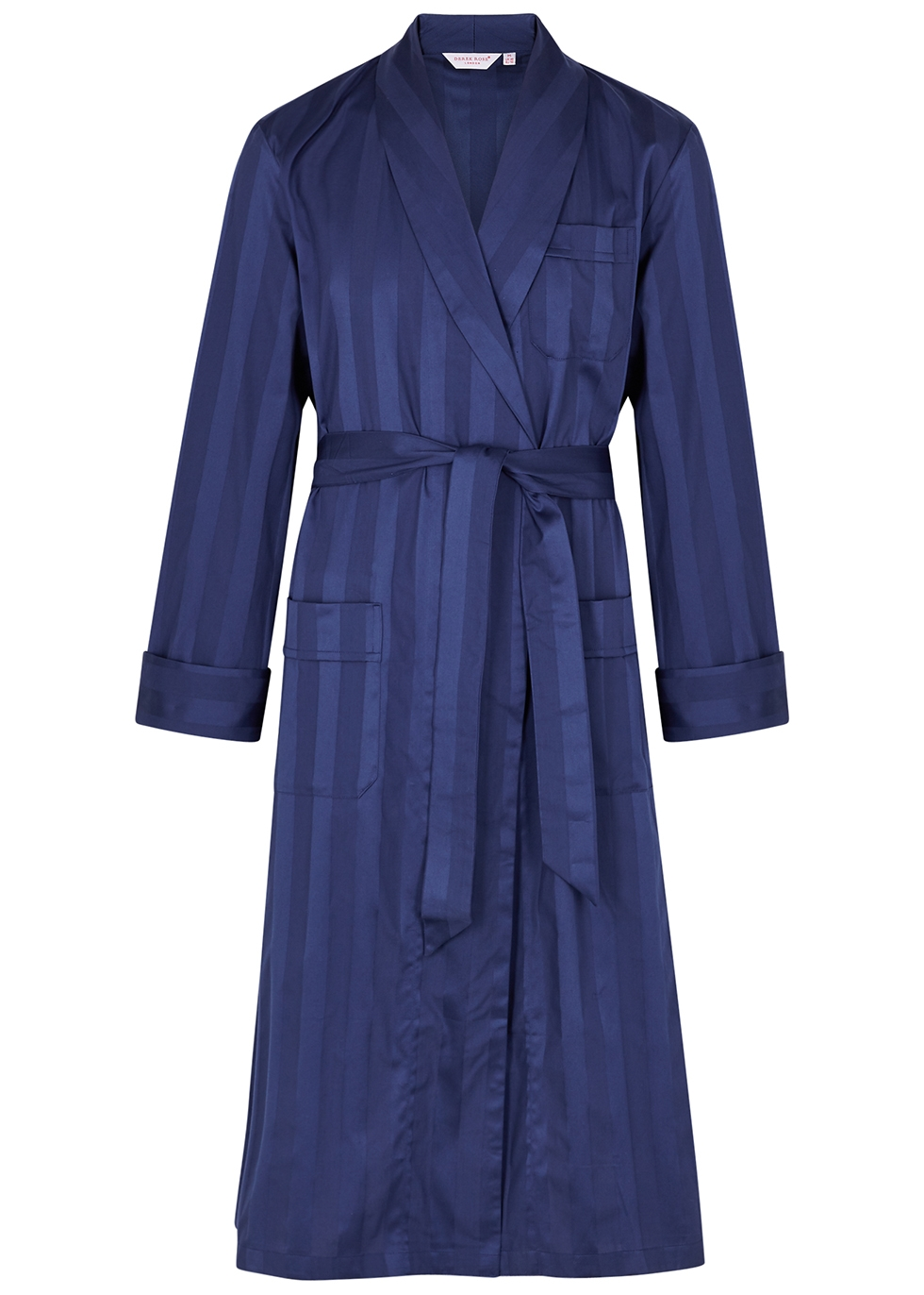 Lingfield navy striped cotton robe