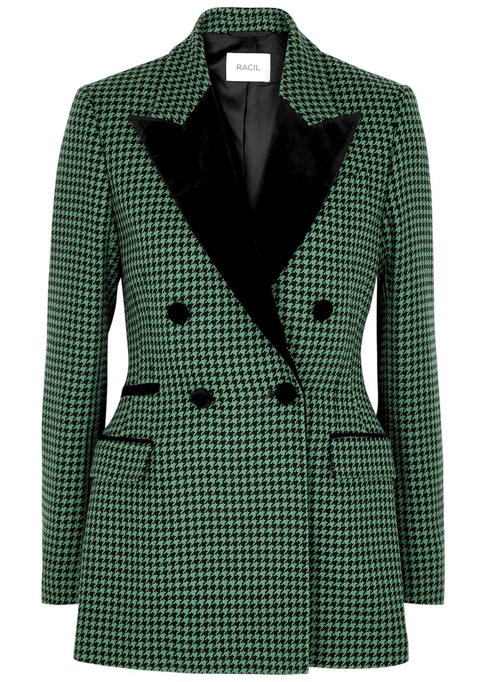 Oxford houndstooth wool-blend blazer