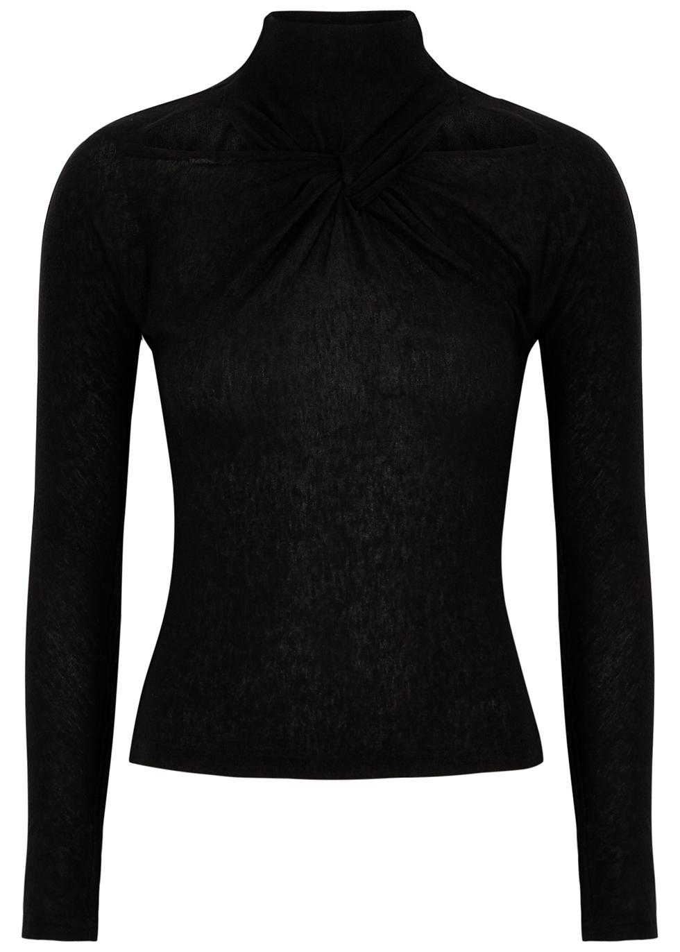 Maia black twist-effect jersey top