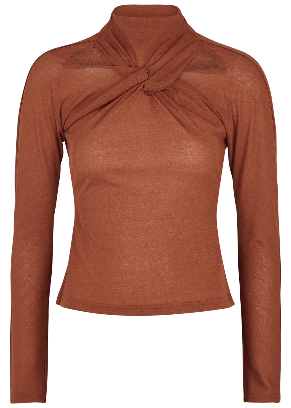 Maia terracotta twist-front stretch-jersey top
