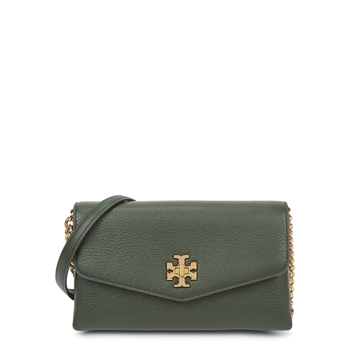 Tory Burch Kira Dark Green Leather Wallet-on-chain In Poblano