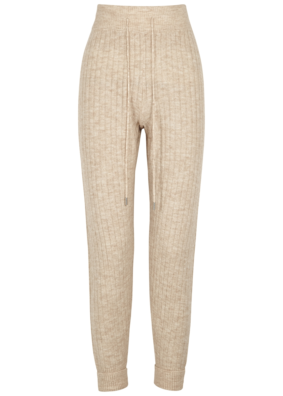 Around The Clock cream ribbed-knit trousers