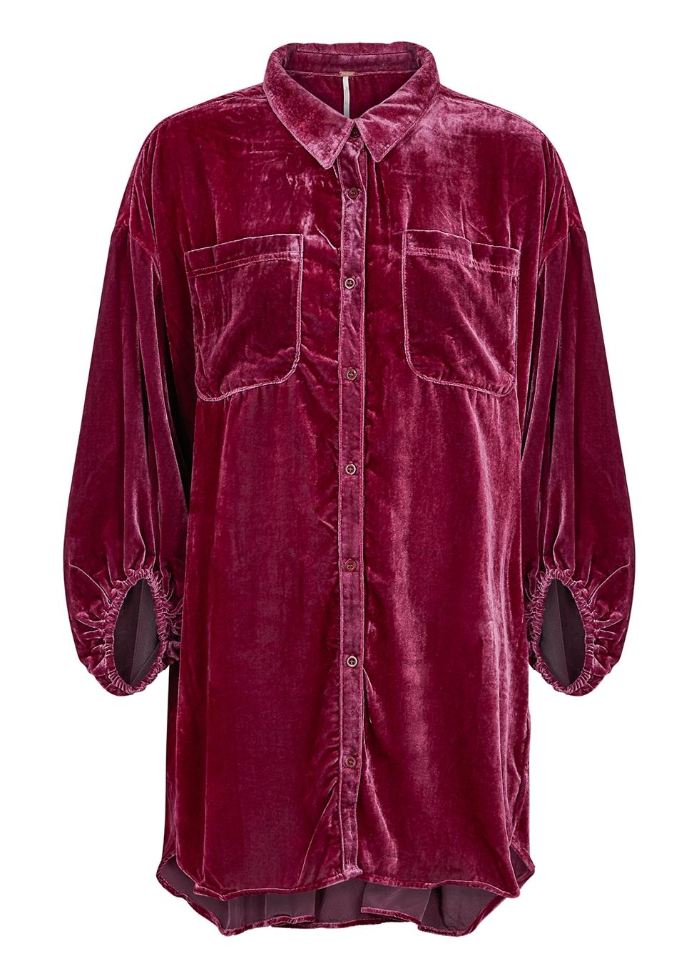 Fairytale raspberry velvet shirt dress