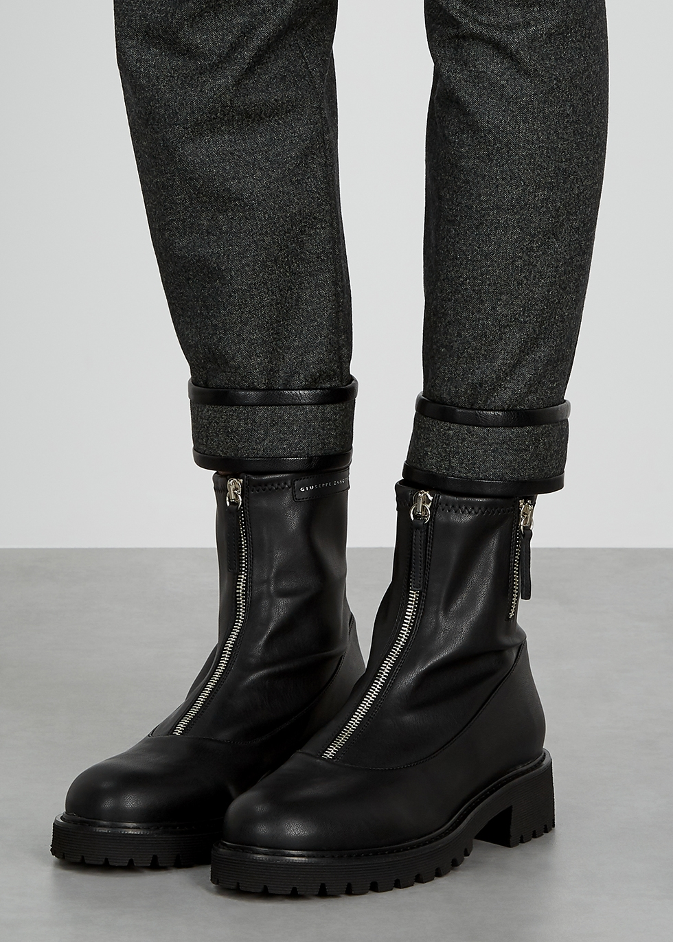 Giuseppe Zanotti Combat black leather