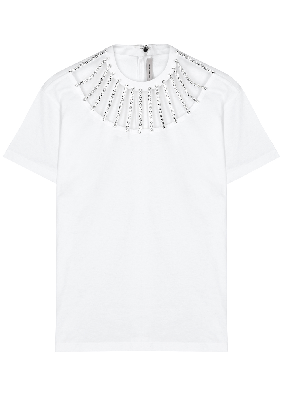 White crystal-embellished cotton T-shirt