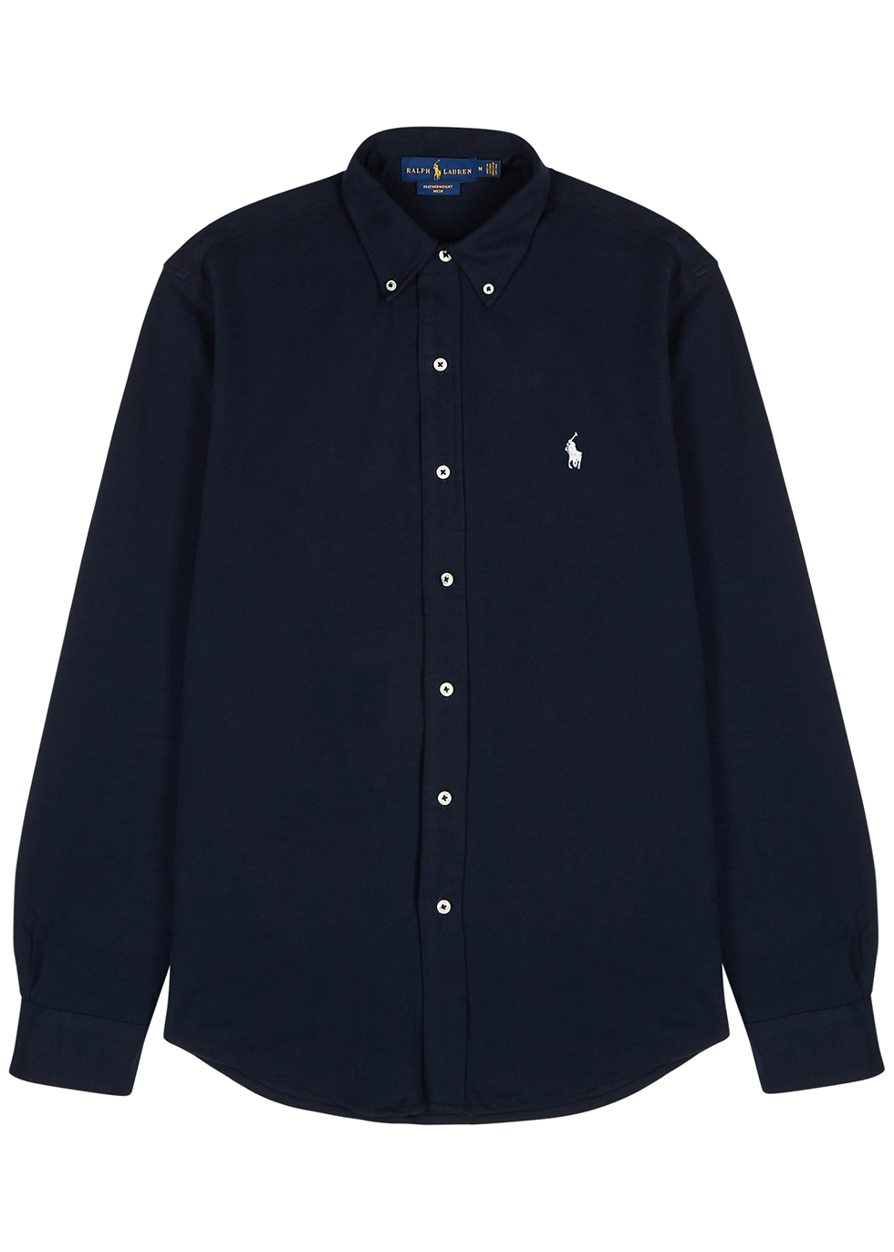 Navy piqué cotton shirt