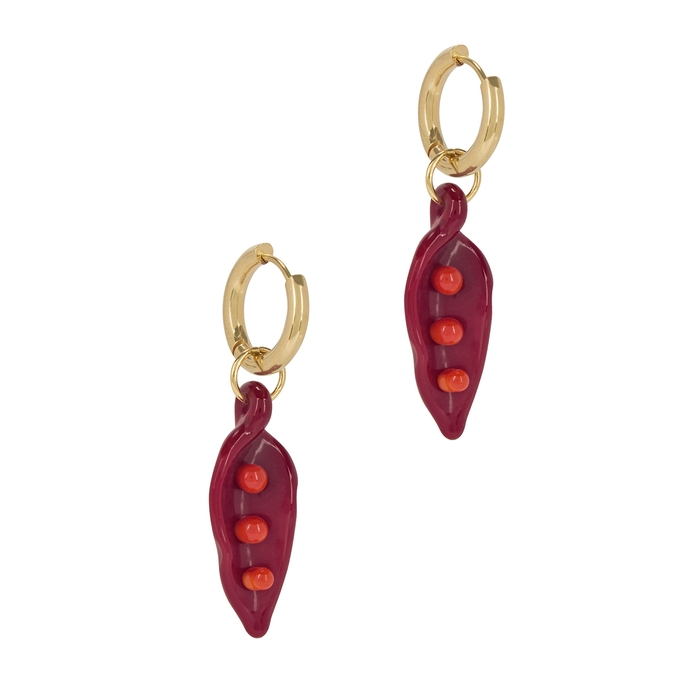 Sandralexandra Pea In A Pod 18kt Gold-plated Hoop Earrings In Red