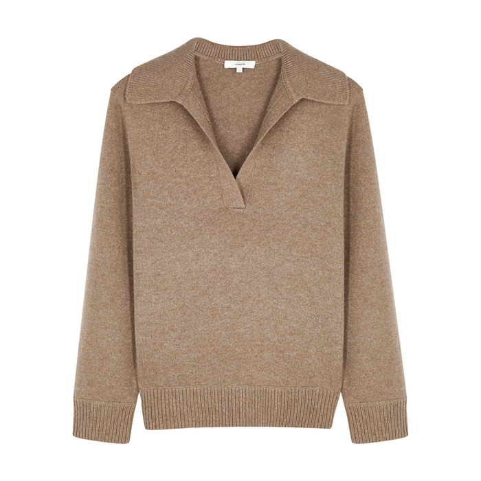 Vince BROWN WOOL AND CASHMERE-BLEND JUMPER