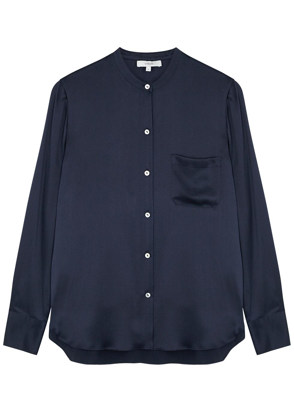 Dark blue silk shirt