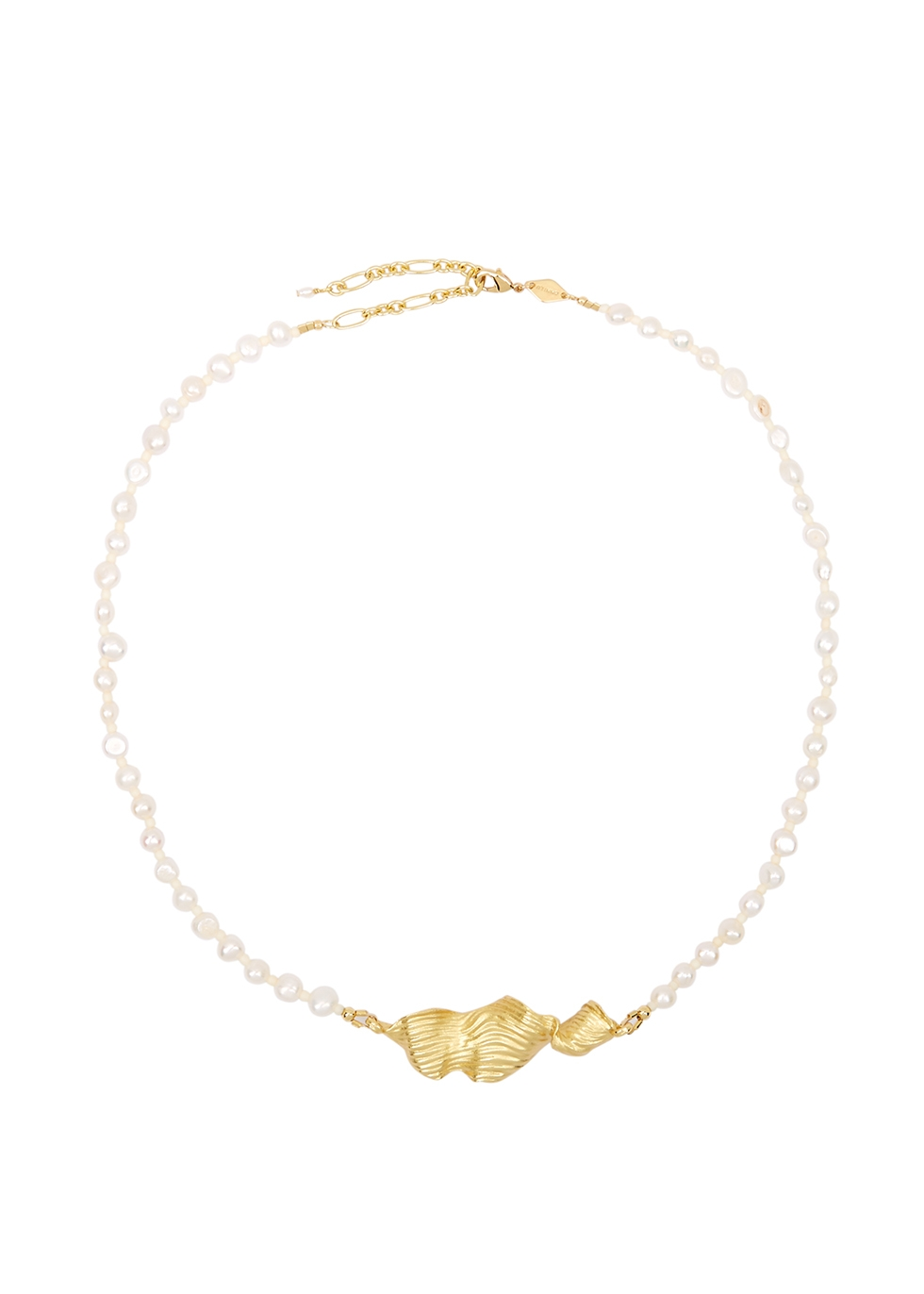 Seaweed Pearly 18kt gold-plated necklace