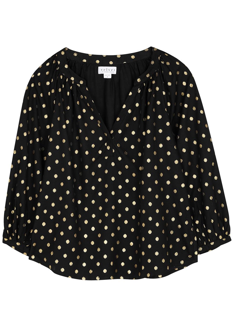 Maisee black polka-dot foil-print blouse