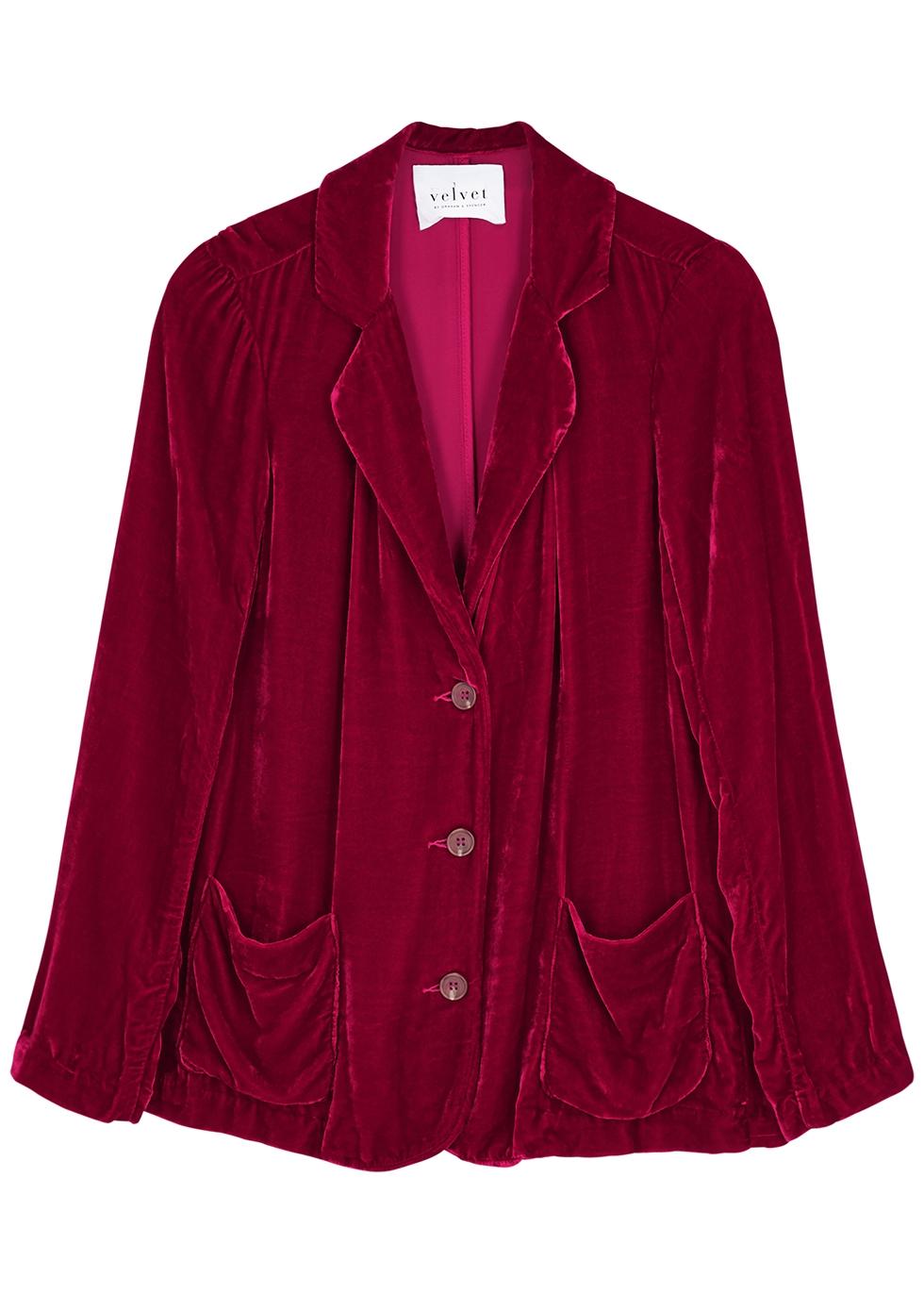 Rayna red velvet blazer