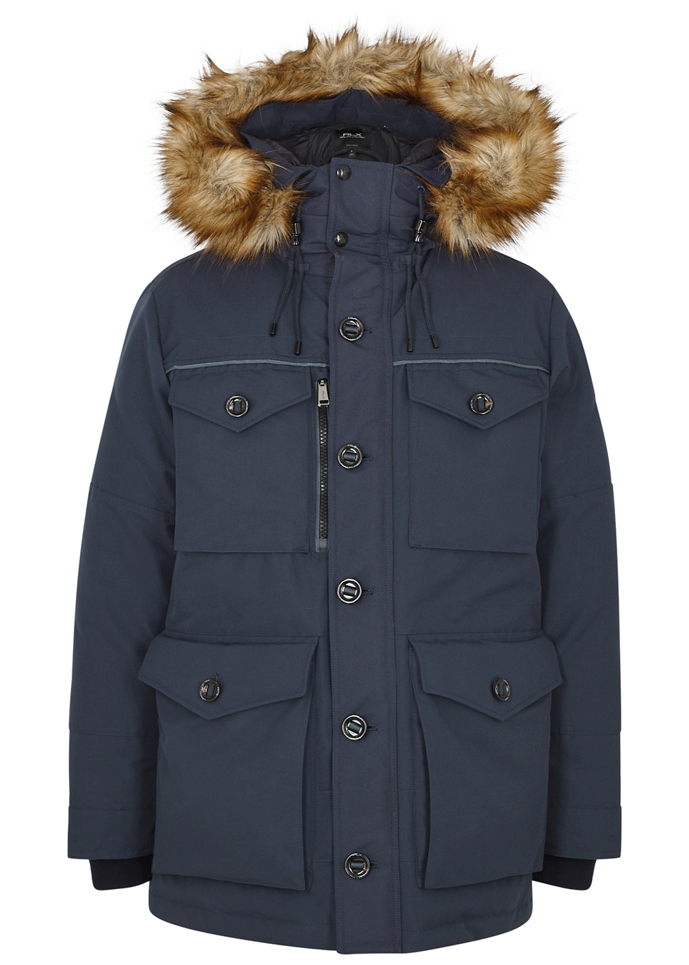 RLX Alistair navy faux fur-trimmed shell coat