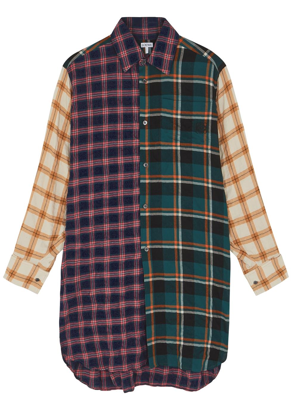 Checked longline modal-blend shirt
