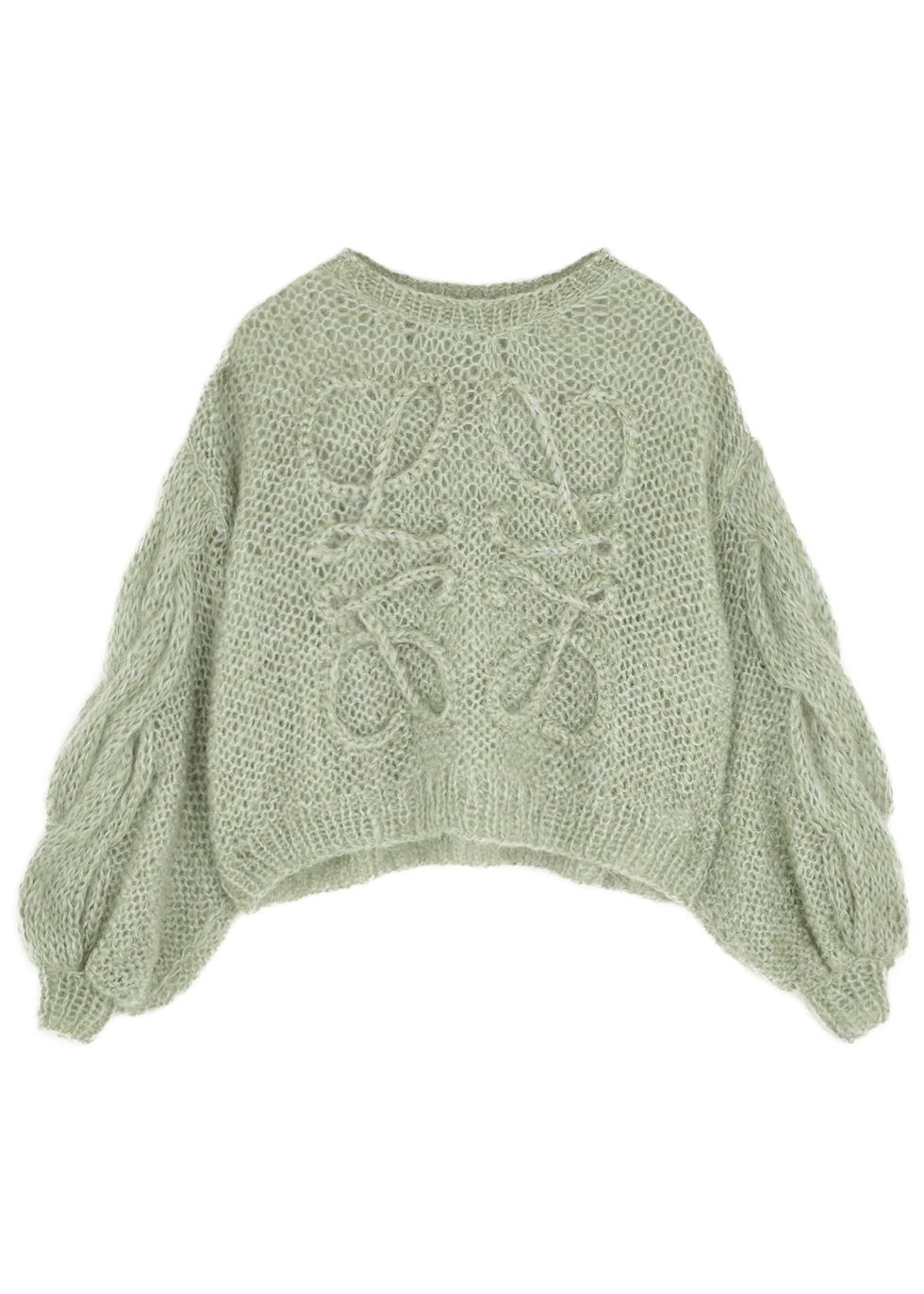 Sage open-knit mohair-blend jumper
