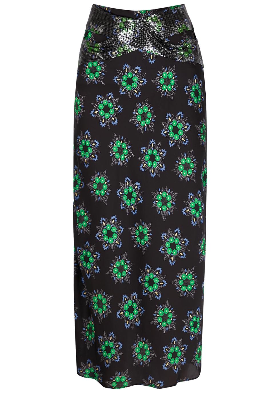 Floral-print satin midi skirt
