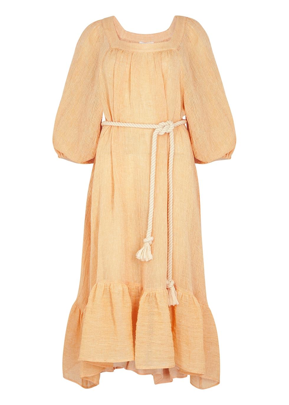 Laure orange linen-blend midi dress