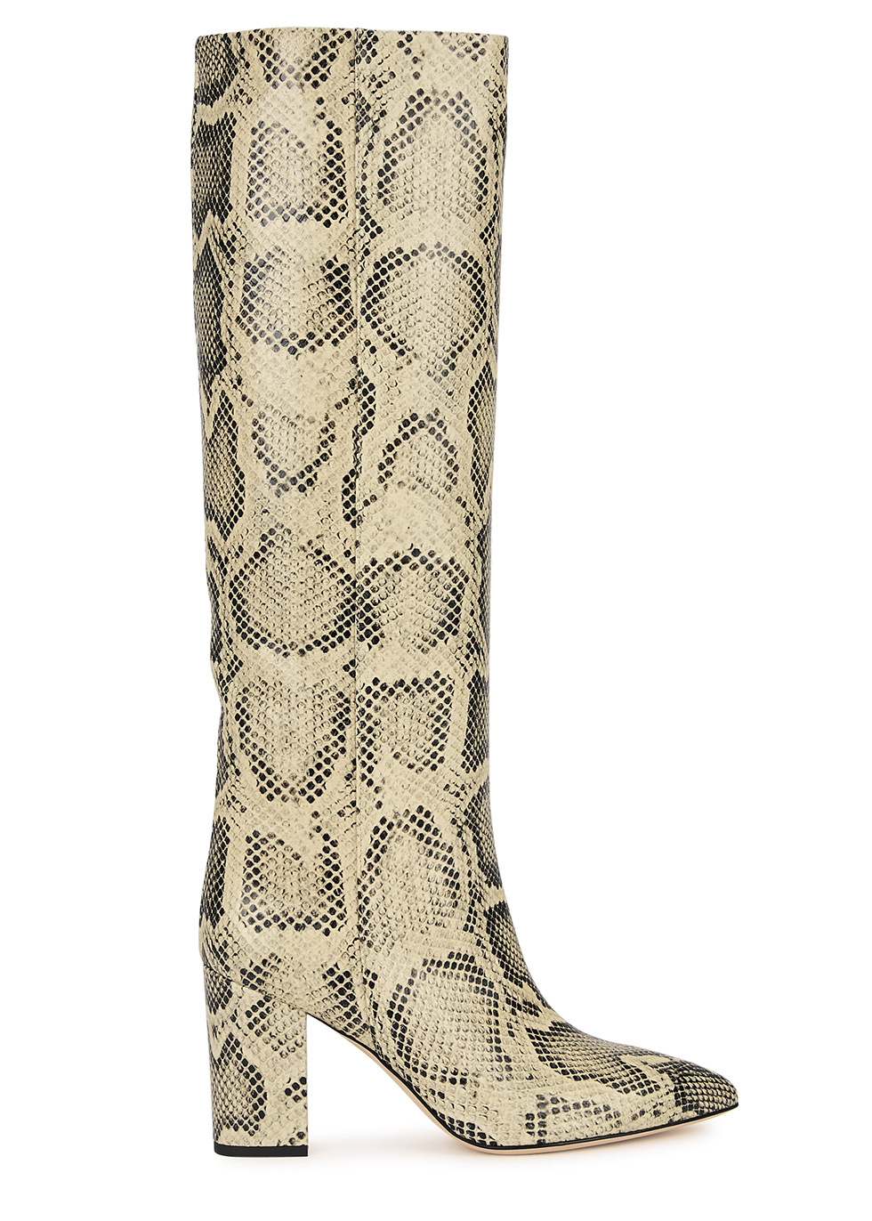 85 python-effect leather knee-high boots