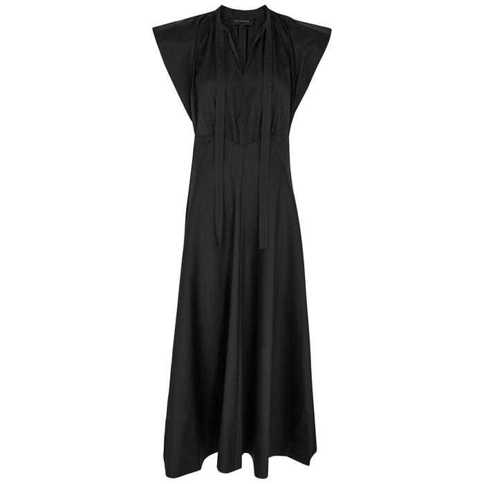 Lee Mathews MALEO BLACK COTTON-BLEND MAXI DRESS